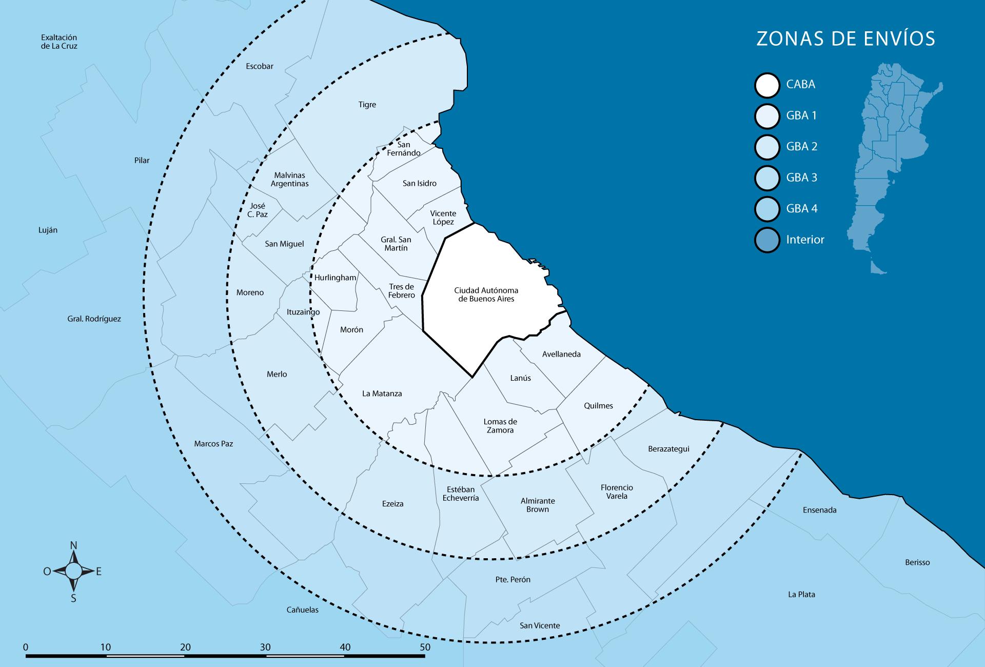 Mapa de Instalaciones y Envíos Tender®